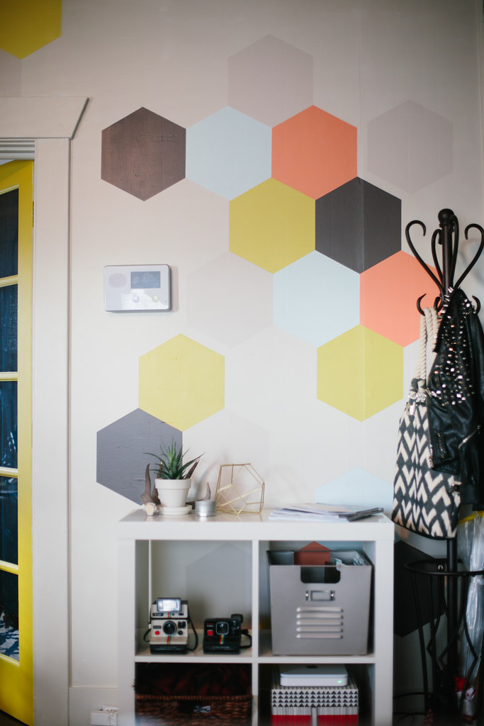 hexagon painted wall design