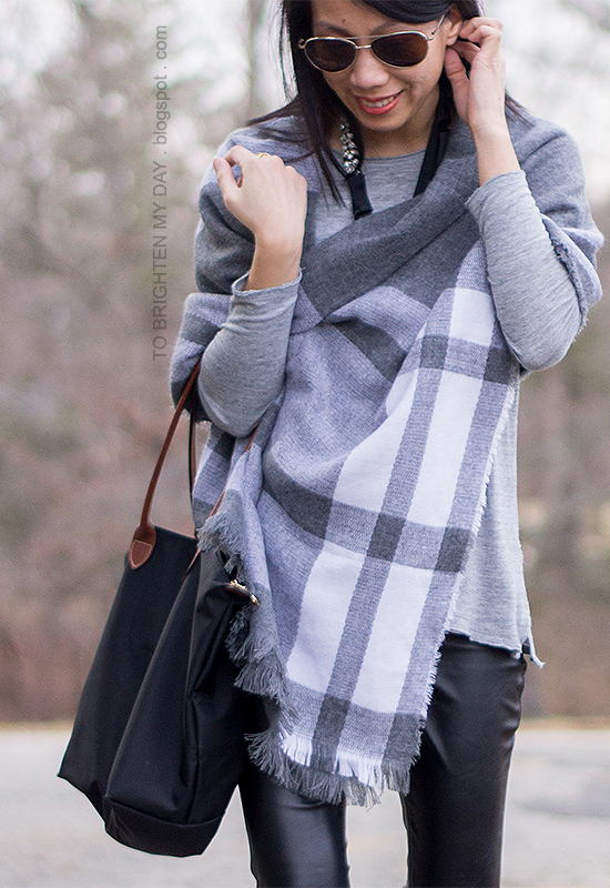plaid scarf as shawl, black faux leather pants