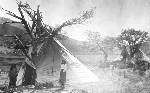 Wickiups, conical-shape dwellings used by the Ute Mountain Ute Tribe of southwestern Colorado, are still in use for ceremonial purposes. This photo shows a leaner Ute tipi from the 1870-1880s. The U.S. Forest Service's Rocky Mountain Region partnered with the Dominguez Archaeological Research Group as part of the Region's mission focus on historic and cultural preservation goals. (Photo courtesy of Curtis Martin, Dominguez Archaeological Research Group)