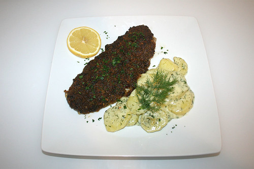 53 - Seelachs mit Tomatenhaube an Dillkartoffeln - Served / Coalfish with tomato coat on dill potatoes - Served