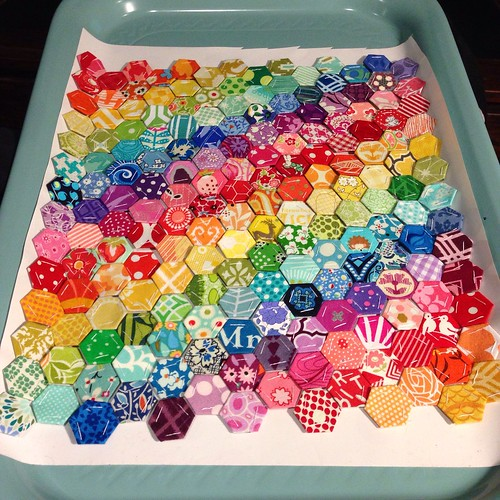 "1/2"" rainbow hexies in progress"