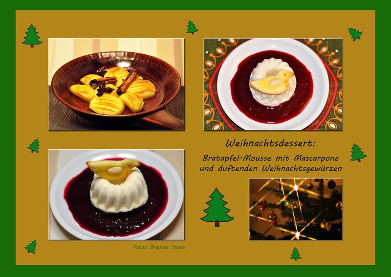 Bratapfel Bratäpfel Mousse Creme Weihnachtsdessert Dessert würzig Duftzucker Mascarpone Gewürze Kochblog Foto Brigitte Stolle