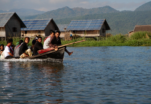 Overloaded Boat of Unhappy People on Inle Lake, Myanmar