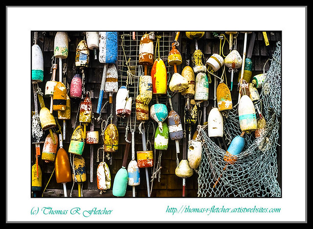 Lobster Buoys and Fishing Net