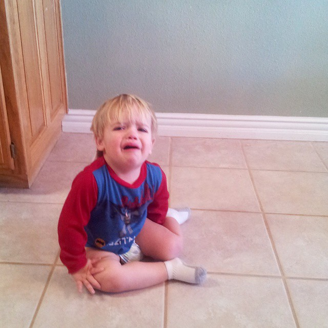 He kept crying bc he wanted an orange. So I peeled an orange. Then he kept crying and threw himself on the floor (hello 2 year old tantrums.) #mboys2015