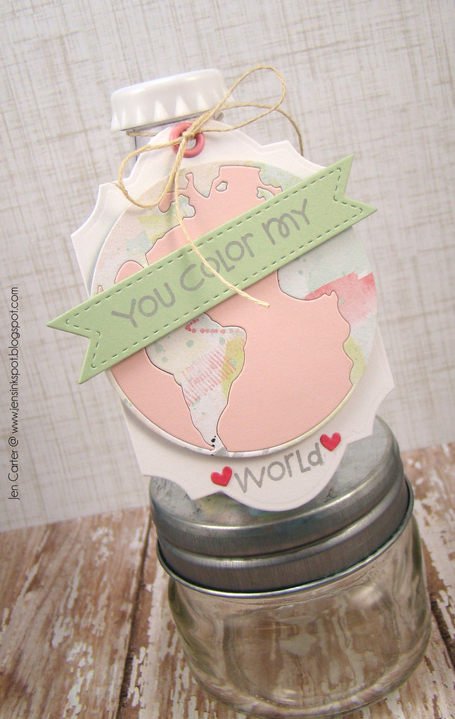 Jen Carter Frantic Stamper Color World Valentine Tag