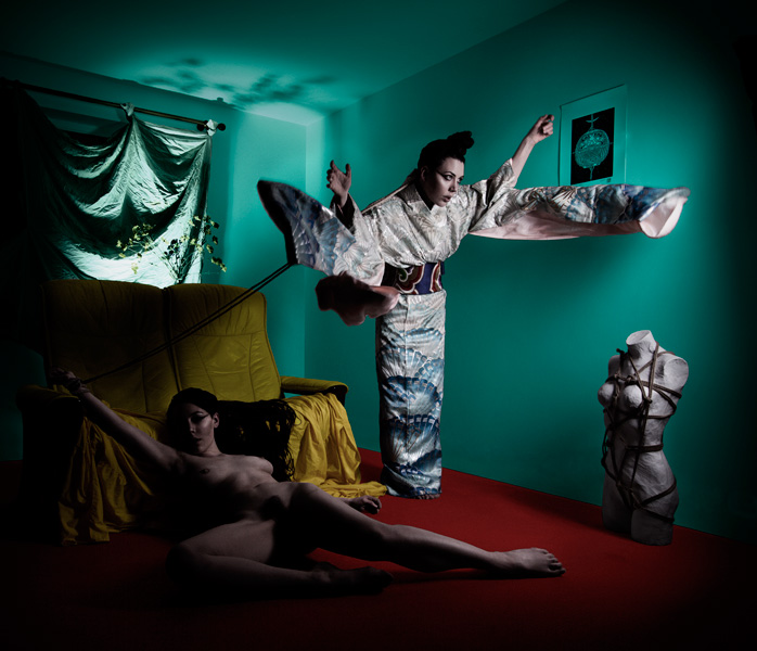 Self portrait by Gestalta. Surreal picture of nude woman, and woman in kimono with flying sleeves.