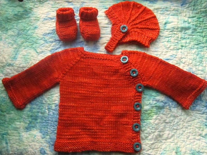Orange baby knit set