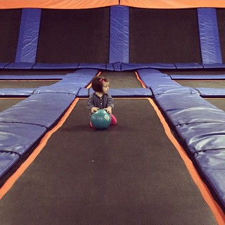 Maggie had no fear at the trampoline place this morning.