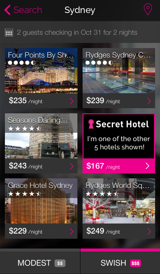 Secret Hotels iPhone App search results.