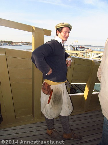 One of the male costumed interpreters on the Mayflower II, Plymouth, MA