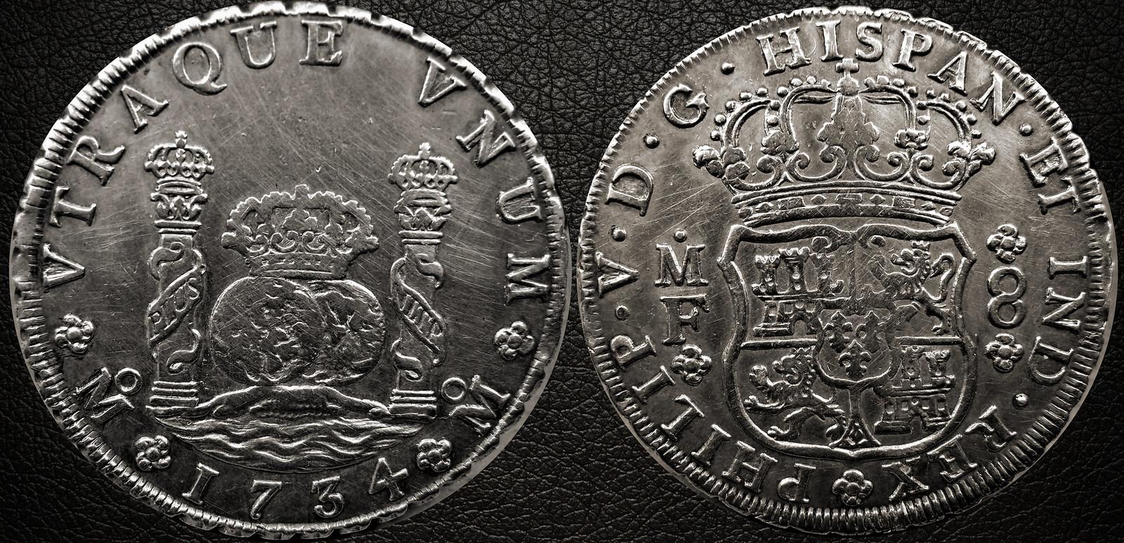 8 reales tipo columnario de Felipe V, México. 1734. 15547453749_a3a0364a03_h