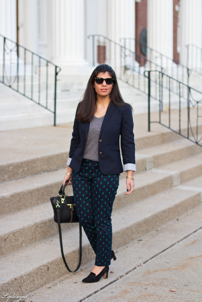 printed pants, navy blazer, grey top-1.jpg
