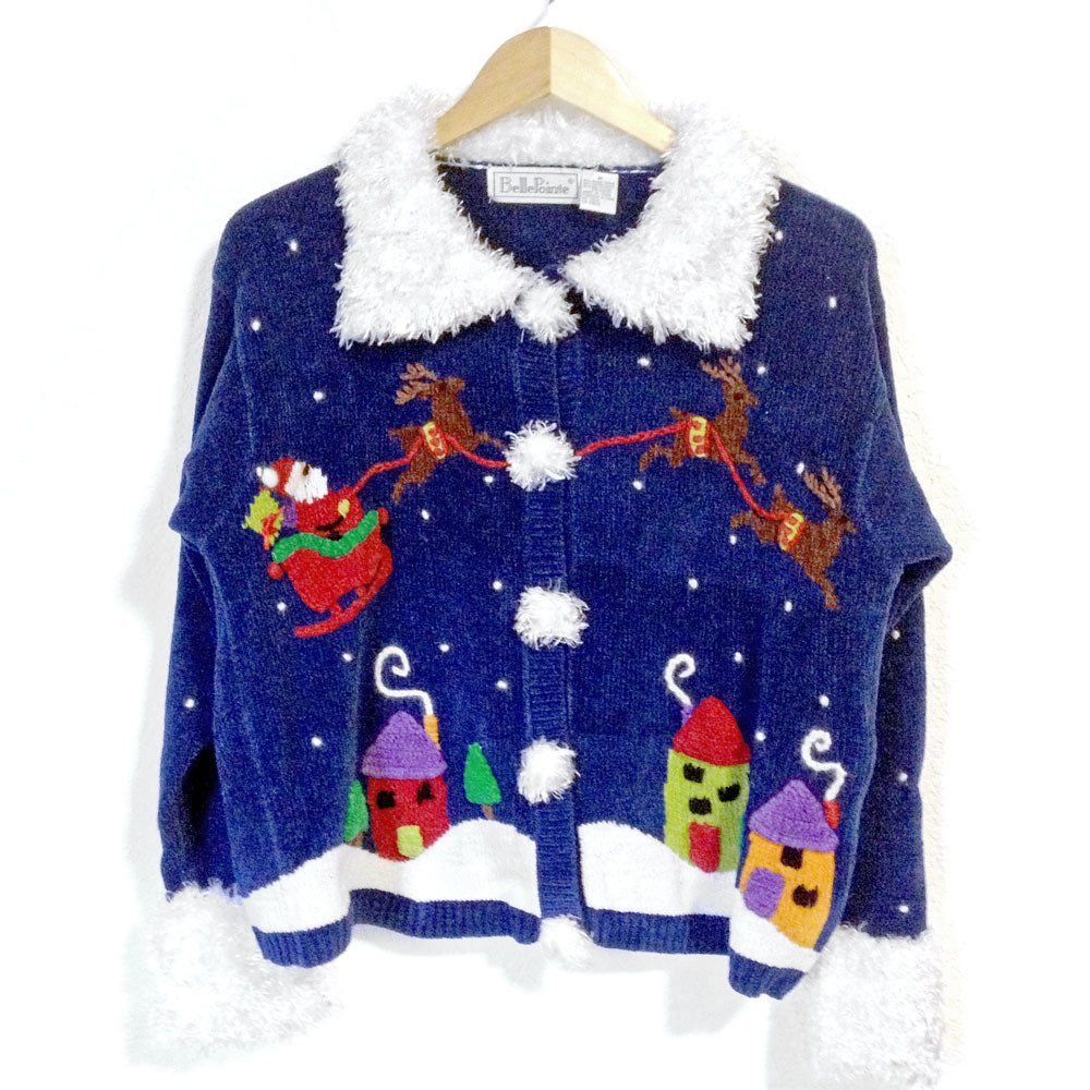 """Santa's Sleigh Over the Rooftops"" Fuzzy Collar Ugly Christmas Sweater 3"
