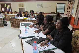 Participants follow proceedings during the training workshop