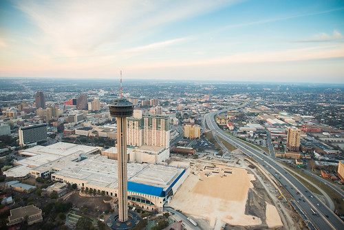 urban tower skyline photography construction nikon san downtown texas cloudy district central center aerial business helicopter convention cbd 24mm antonio americas d800 2014 14g jld3