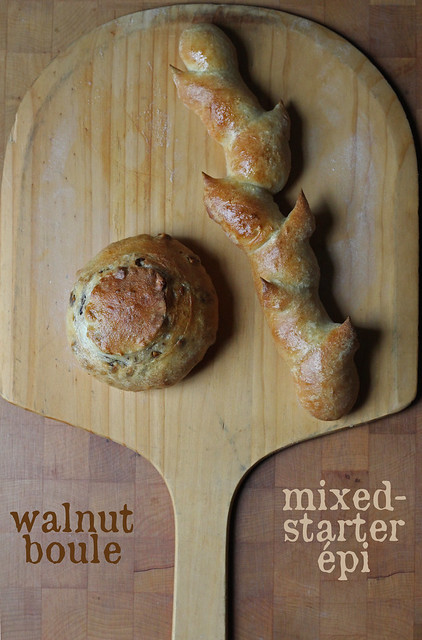 mixed-starter and walnut breads