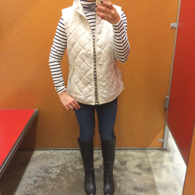 Fitting Room - Old Navy quilted vest, jersey striped turtleneck and cable knit poncho