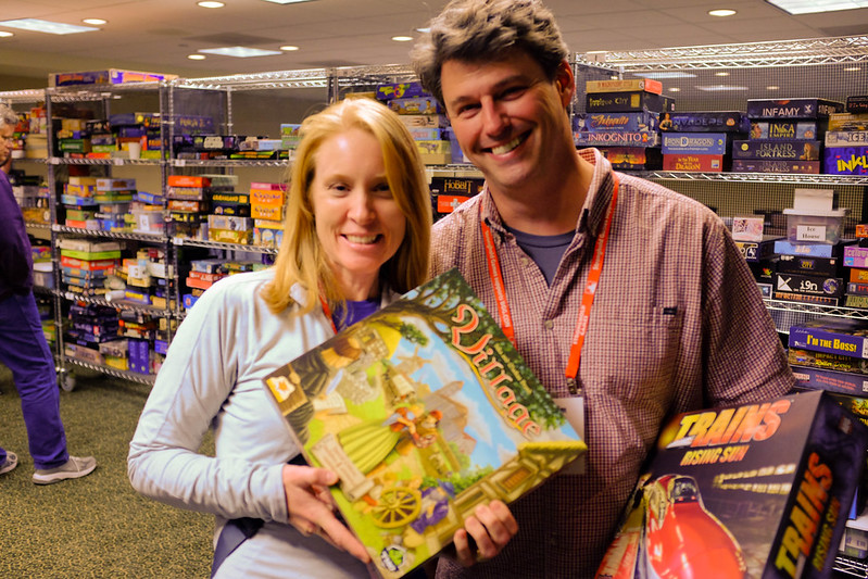 Julie and Jim, Julie's first checkout from the BGG.CON library
