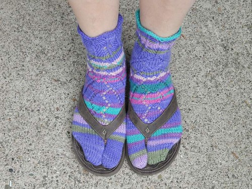 Friday Harbor socks modeled