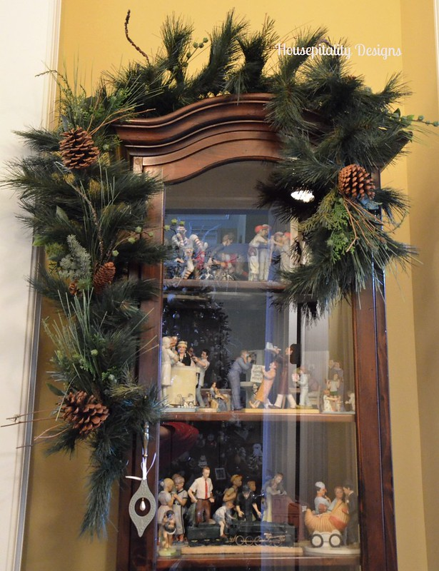 Garland over Curio Cabinet-Housepitality Designs