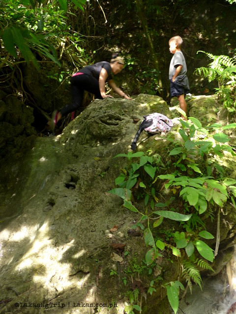 A slippery steep trail going up. Hiking to Kalubihon Falls in Iligan City, Philippines