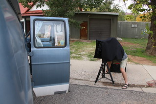 Jon getting ready to take our photo on his large format camera