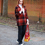 Winter style: Plaid, pinstripes and white roll neck