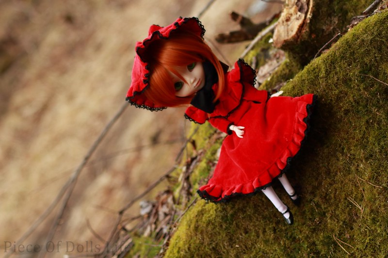 Red lady in the woods