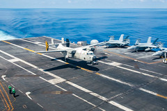 File photo of a Fleet Logistics Combat Support Squadron (VRC) 30 C-2A Greyhound logistics aircraft landing aboard USS John C. Stennis (CVN 74). (U.S. Navy/MCSN Jake Greenberg)