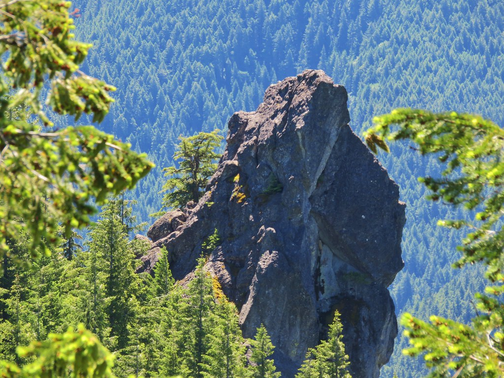 Rooster Rock from a viewpoint in the Menagerie Wilderness