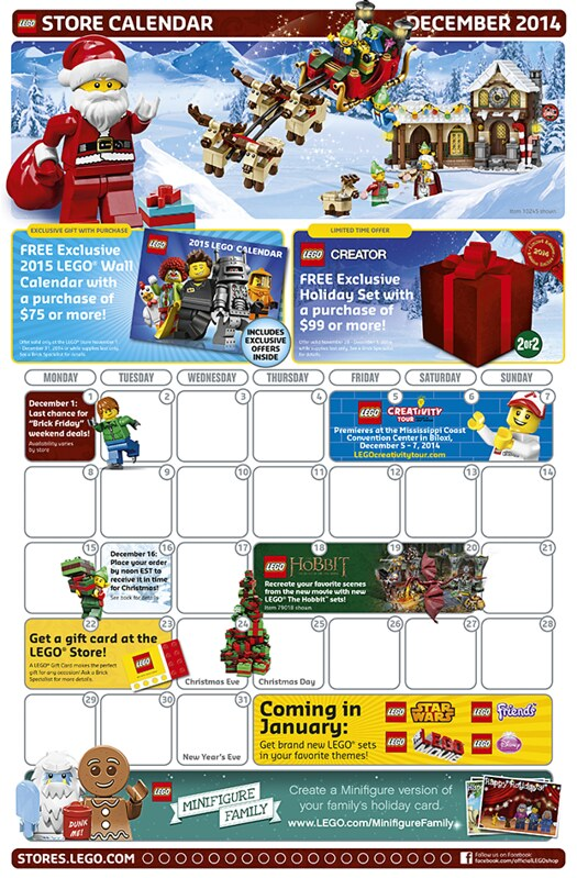 LEGO Shop December 2014 Calendar