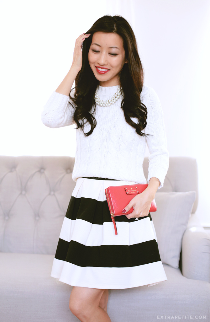 holiday makeup winter white stripe skirt1