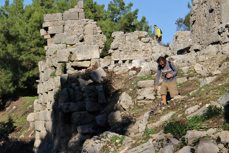 Climbing on Phaselis ruins