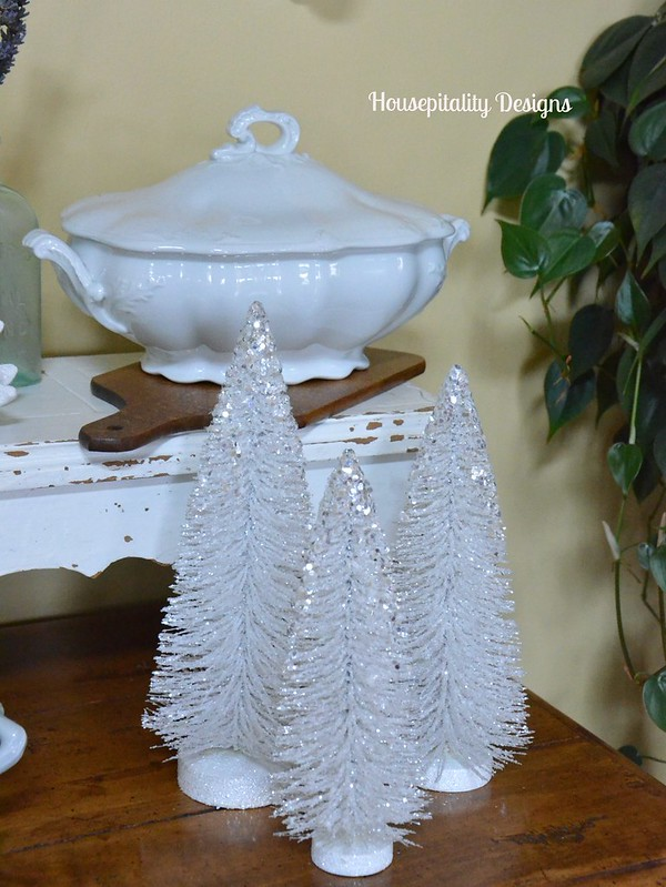White bottle brush trees-Housepitality Designs