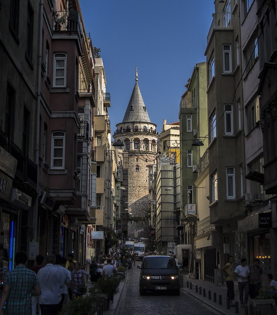 Galata Tower from narrow street