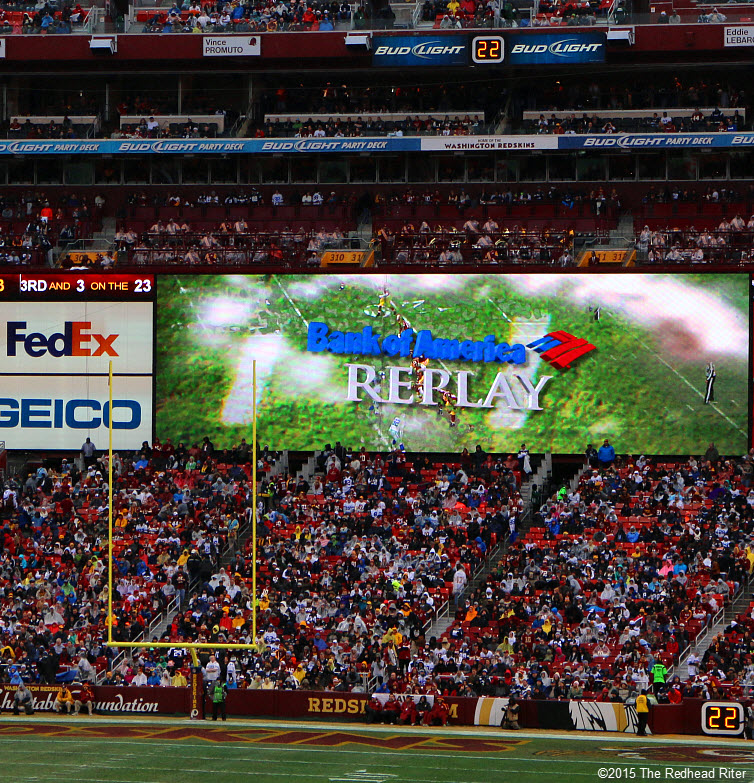 23 replays seen on BIG screen dallas cowboys vs washington redskins game