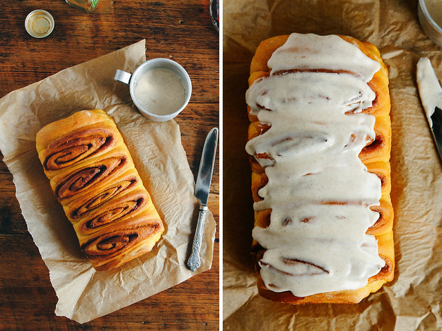 Overnight pumpkin spice cinnamon roll loaf