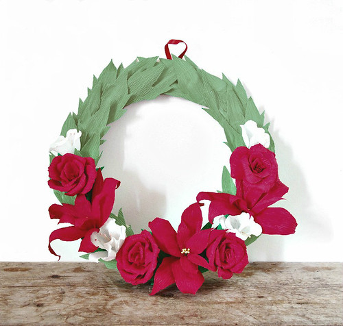 Crepe Paper Christmas Wreath Tutorial