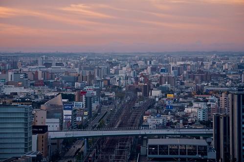 building japan skyscraper sunrise cityscape sony traintracks nagoya 日本 名古屋 ビル 日の出 線路 朝焼け 高層ビル apsc sel55210 e55210mmf4563oss ©jakejung