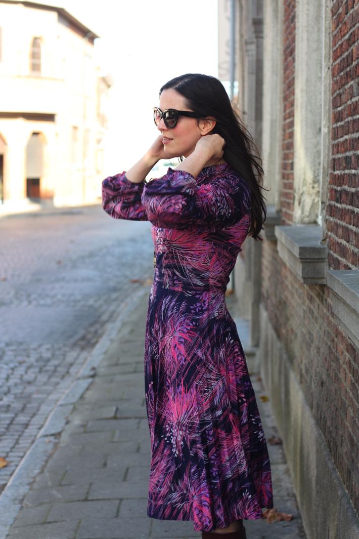 floral vintage 70s dress outfit blog
