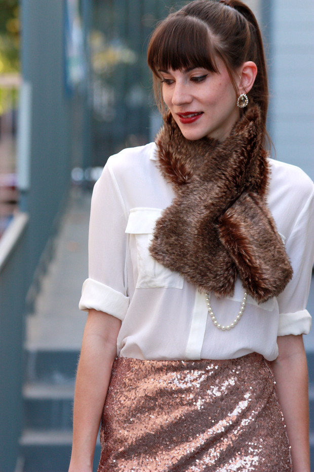 Sequin Midi Skirt, Fur Scarf, Holiday Outfit