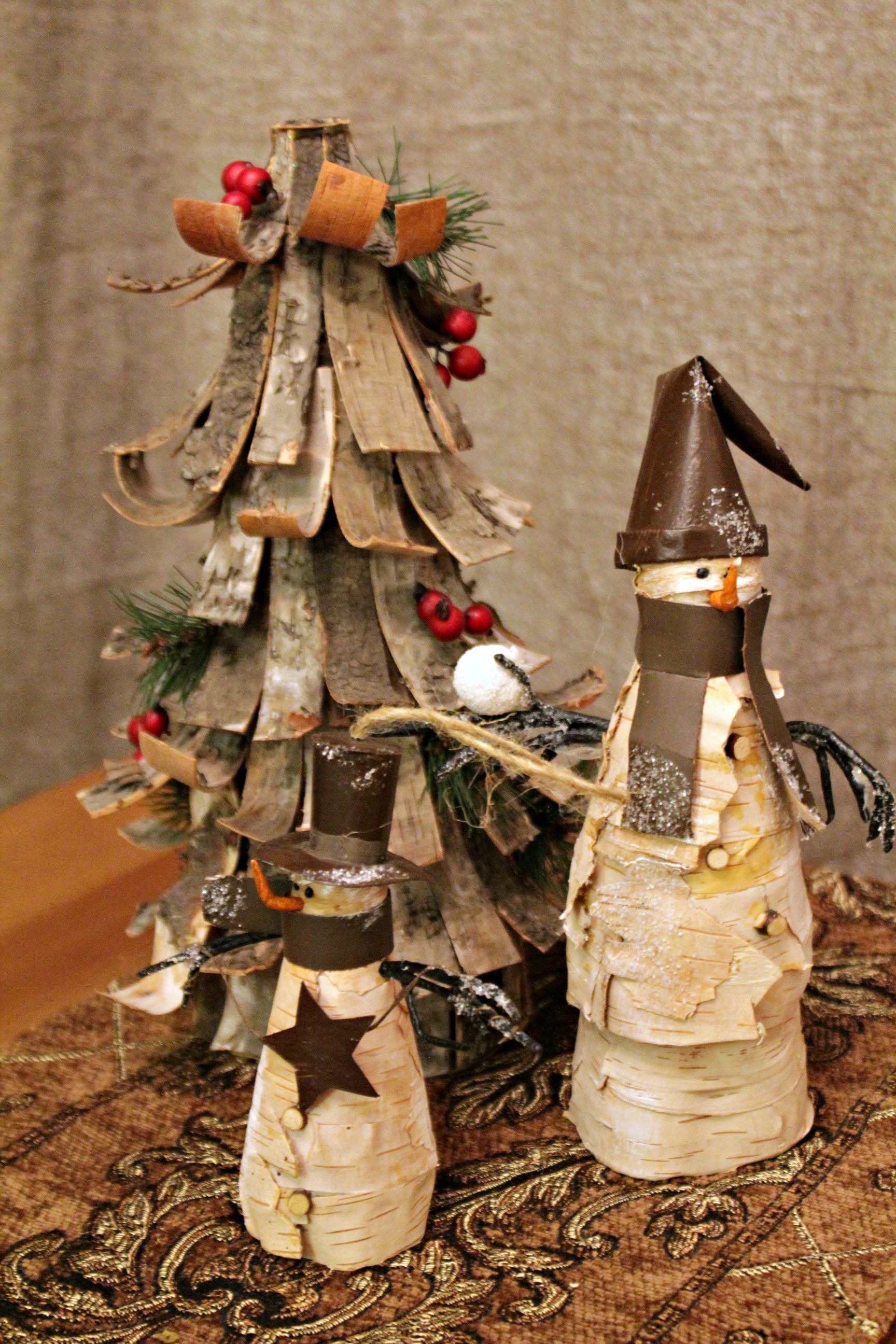birch bark snowmen