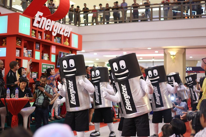 The dancing 'mob' of Mr Energizers get the children dancing along to the beat