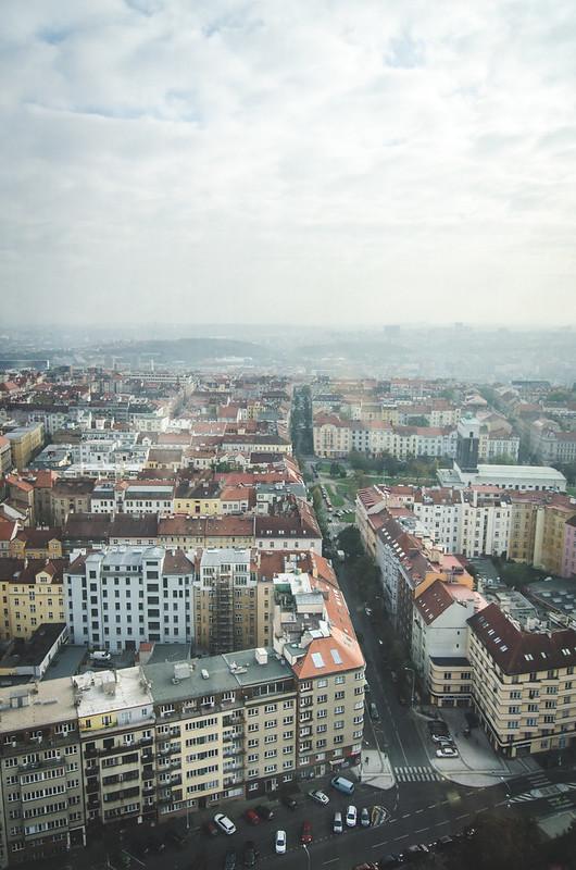 Prague city views from the top of the Žižkov Television Tower.