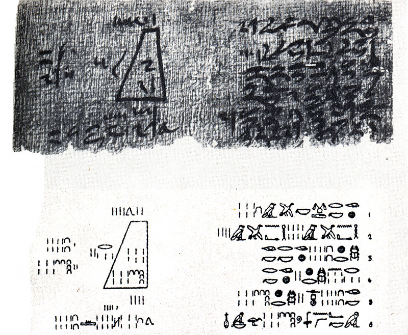Volume of frustum of square pyramid, the 14th problem of the Moscow Mathematical Papyrus (hieratic)