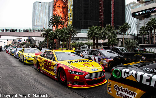 The chase cars lined up on Las Vegas Blvd.