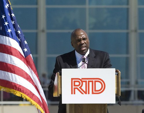 Photo of RTD General Manager Phil Washington speaking at groundbreaking