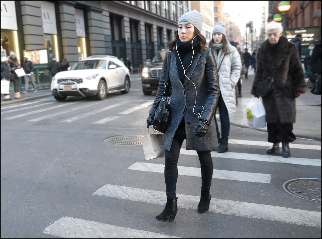 SS1-15  7w grey overcoat black leather sleeves ankle boots skinny black jeans knit grey cap
