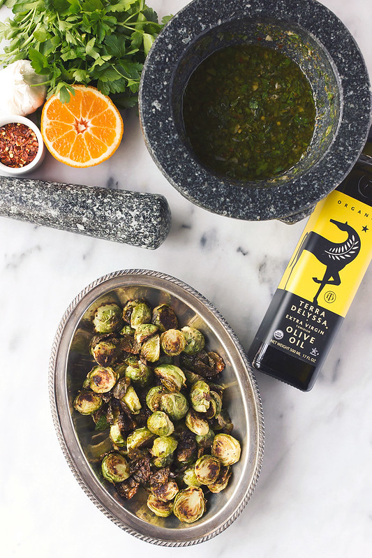 Roasted Brussel Sprouts with Spicy Orange Parsley Chimichurri